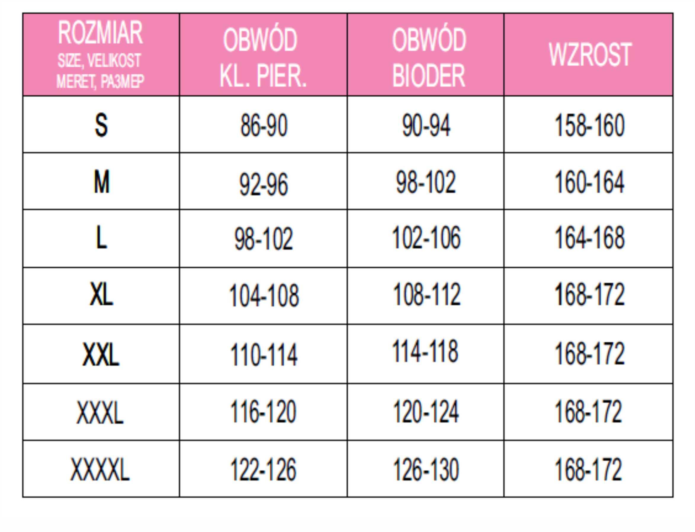 Tabela rozmiarów damskich - LUNA